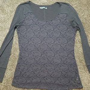 Maurices Gray Lace Long Sleeve Top